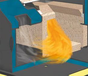 Cámara de combustión de material refractario resistente a altas temperaturas